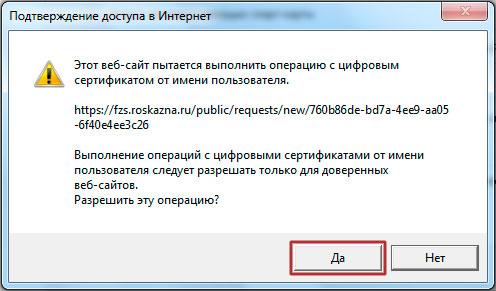 Подтверждение доступа в интернет