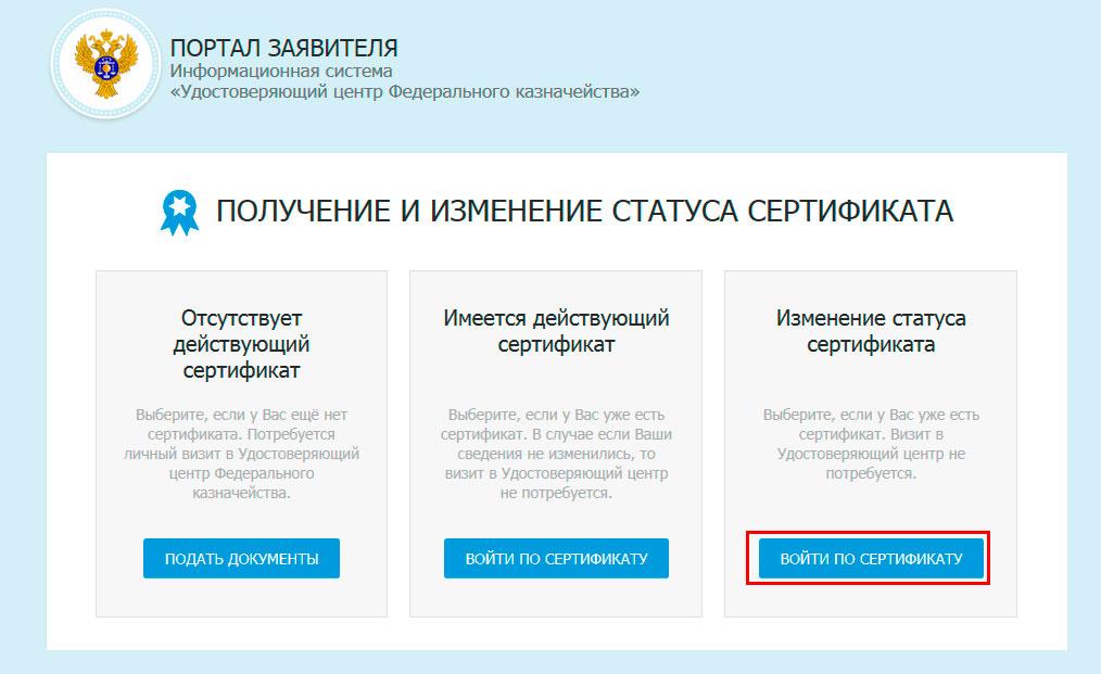 ФЗС Росказна. Изменение статуса сертификата